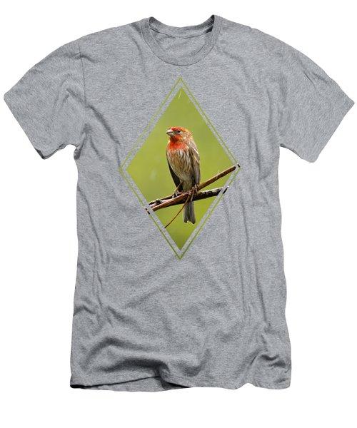 House Finch In The Rain Men's T-Shirt (Slim Fit)