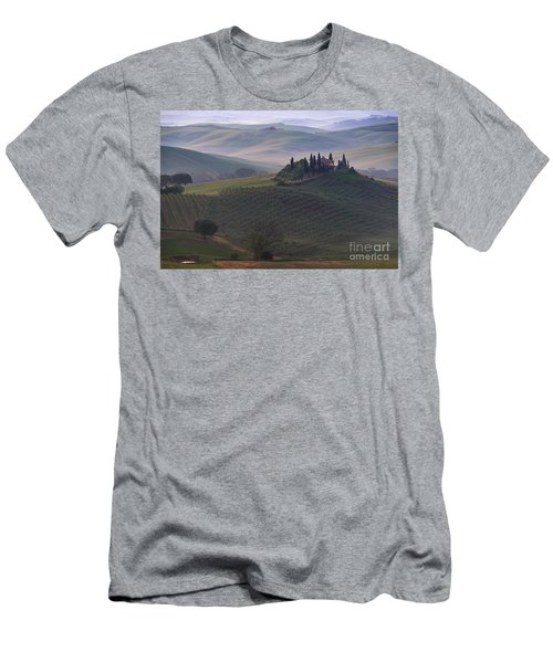 Men's T-Shirt (Athletic Fit) featuring the photograph House In Tuscany In The Morning Fog by IPics Photography