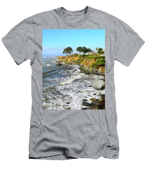 Men's T-Shirt (Slim Fit) featuring the photograph House On The Point Cayucos California by Barbara Snyder
