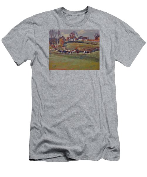 Men's T-Shirt (Slim Fit) featuring the painting Houses And Cows In Schweiberg by Nop Briex