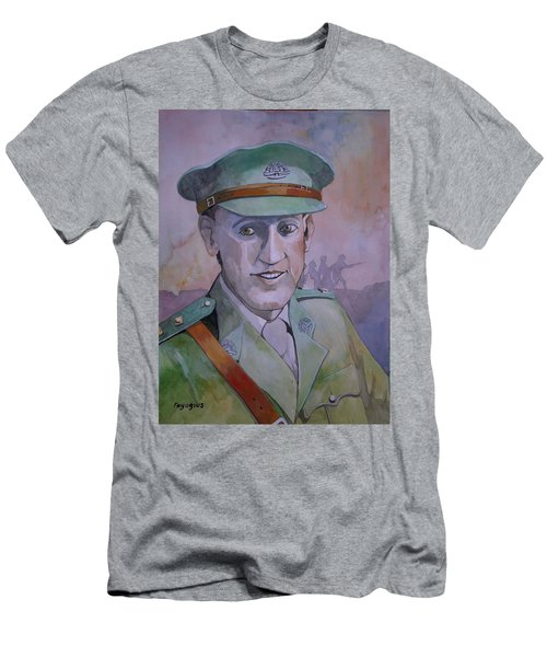 Men's T-Shirt (Slim Fit) featuring the painting Hugo Throssel Vc by Ray Agius