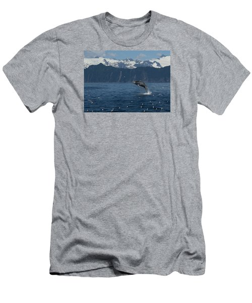 Humback Whale Arching Breach Men's T-Shirt (Athletic Fit)