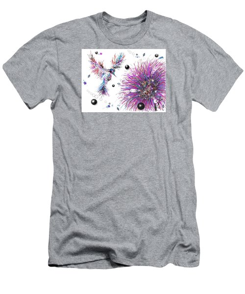 Men's T-Shirt (Athletic Fit) featuring the digital art Humming Bird And Flower by Darren Cannell