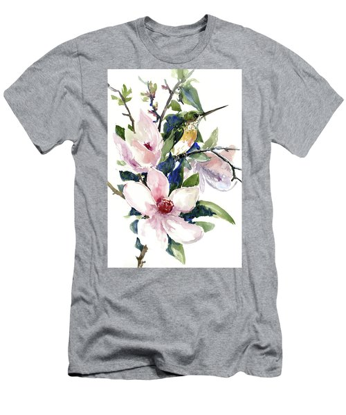 Hummingbird And Magnolia Flowers Men's T-Shirt (Athletic Fit)
