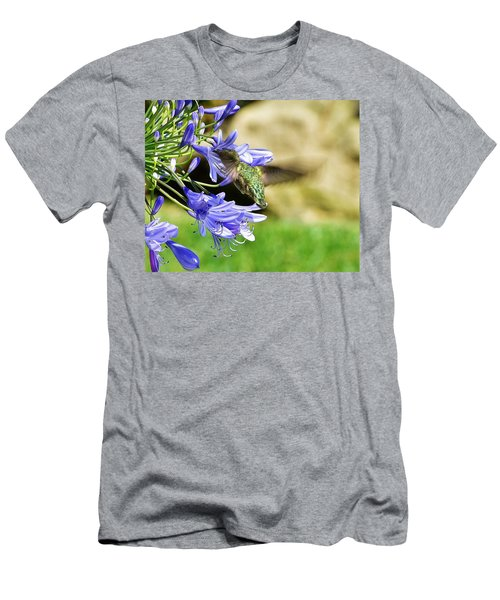 Hummingbird On Blue Agapanthus II Men's T-Shirt (Athletic Fit)