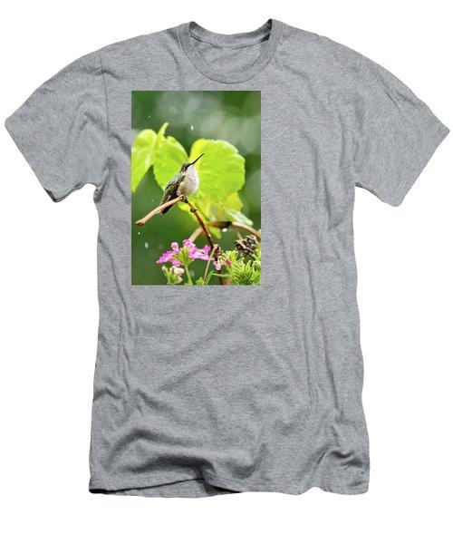 Hummingbird On Vine In The Rain Men's T-Shirt (Athletic Fit)