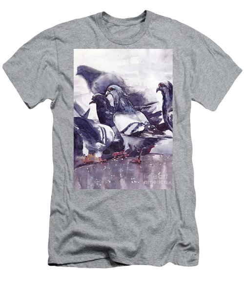 Hungry Pigeons Watercolor Men's T-Shirt (Athletic Fit)