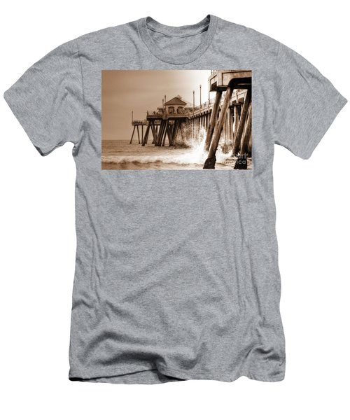 Huntington Beach Pier In Sepia Men's T-Shirt (Athletic Fit)
