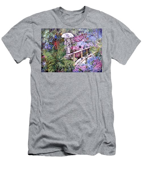 Men's T-Shirt (Athletic Fit) featuring the painting Hydrangea In The Formosa Gardens by Ryn Shell