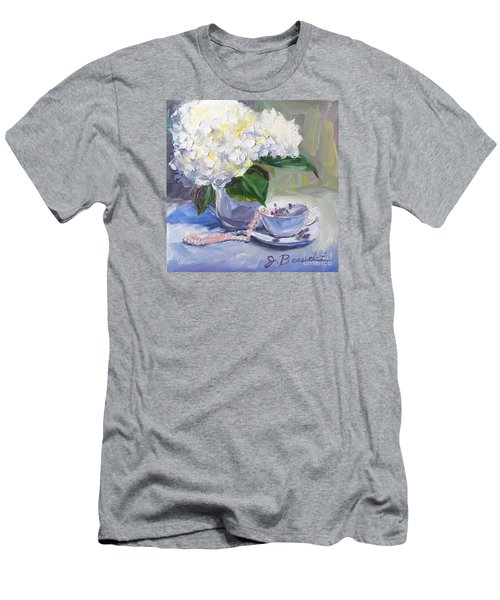 Hydrangeas With Pearls  Men's T-Shirt (Slim Fit) by Jennifer Beaudet