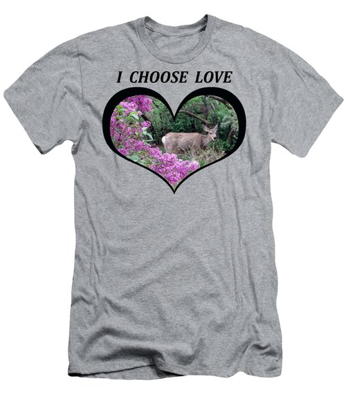 I Chose Love With Deers Among Lilacs In A Heart Men's T-Shirt (Athletic Fit)