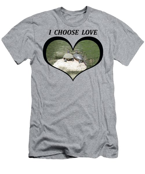 I Chose Love With Two Turtles Snuggling Men's T-Shirt (Athletic Fit)