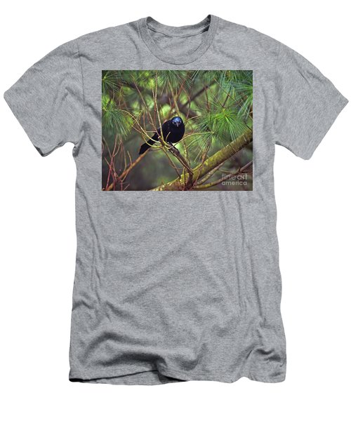 Men's T-Shirt (Athletic Fit) featuring the photograph I Have My Eyes On You - Grackle In The Pines by Kerri Farley