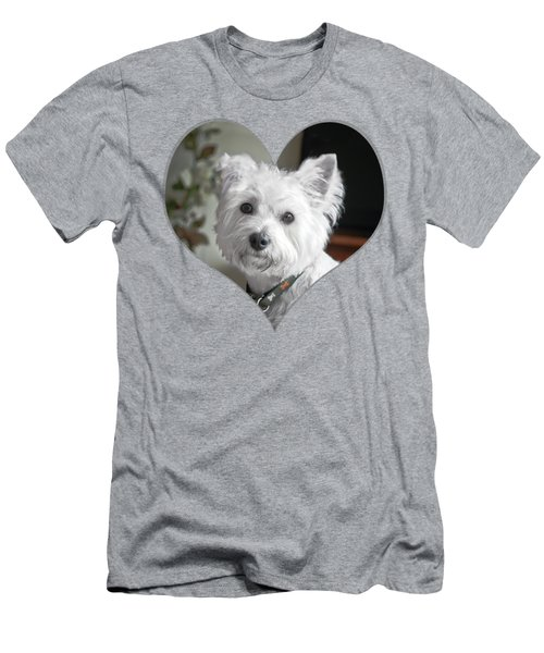 I Heart Puppy On A Transparent Background Men's T-Shirt (Athletic Fit)