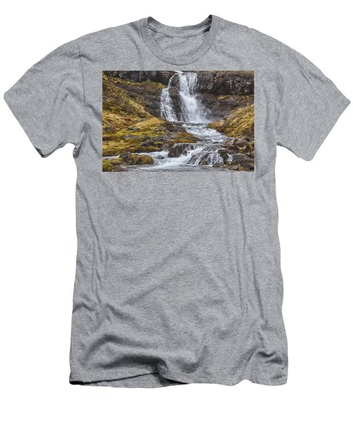 Men's T-Shirt (Slim Fit) featuring the tapestry - textile Iceland Fjord 2 by Kathy Adams Clark