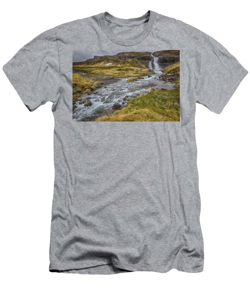 Men's T-Shirt (Slim Fit) featuring the tapestry - textile Iceland Fjord by Kathy Adams Clark