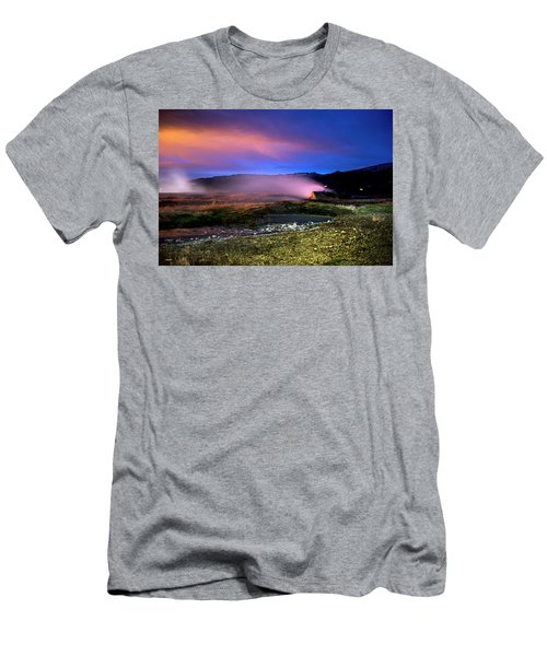Men's T-Shirt (Athletic Fit) featuring the photograph Icelandic Geyser At Night by Dubi Roman