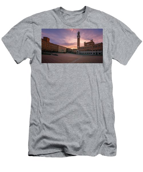 Men's T-Shirt (Slim Fit) featuring the photograph Il Campo Dawn Siena Italy by Joan Carroll