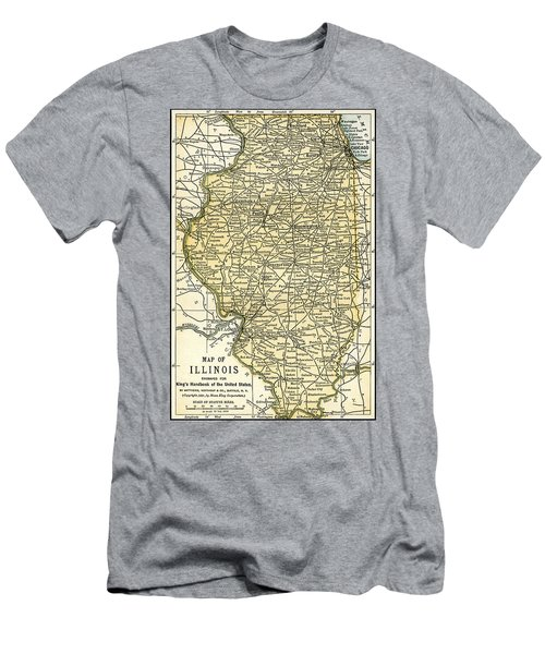 Illinois Antique Map 1891 Men's T-Shirt (Slim Fit) by Phil Cardamone