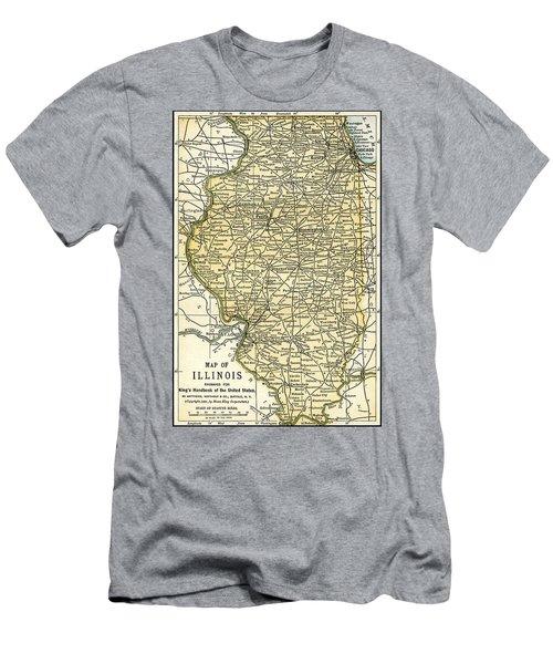 Illinois Antique Map 1891 Men's T-Shirt (Athletic Fit)