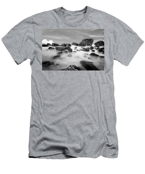 Indian Beach, Ecola State Park, Oregon, In Black And White Men's T-Shirt (Athletic Fit)