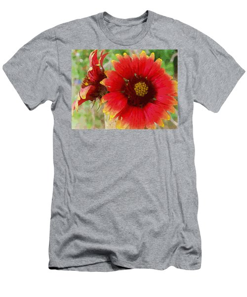 Men's T-Shirt (Athletic Fit) featuring the digital art Indian Blanket Flowers by Shelli Fitzpatrick