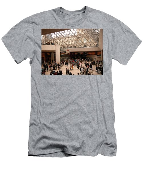 Men's T-Shirt (Slim Fit) featuring the photograph Inside Louvre Museum Pyramid by Mark Czerniec