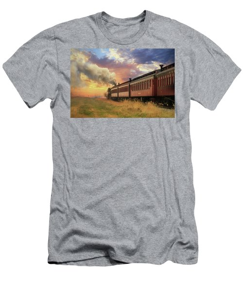 Men's T-Shirt (Slim Fit) featuring the mixed media Into The Sunset by Lori Deiter