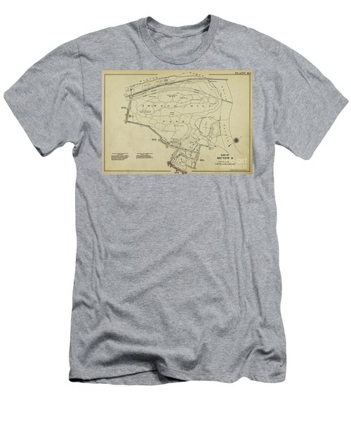 Men's T-Shirt (Athletic Fit) featuring the photograph Inwood Hill Park 1950's Map by Cole Thompson