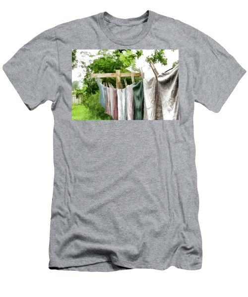 Men's T-Shirt (Slim Fit) featuring the photograph Iowa Farm Laundry Day  by Wilma Birdwell