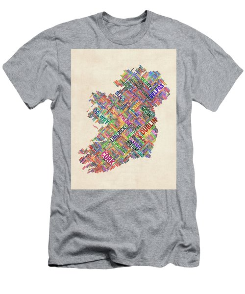 Ireland Eire City Text Map Derry Version Men's T-Shirt (Athletic Fit)