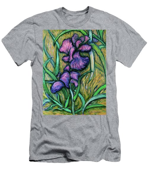 Men's T-Shirt (Athletic Fit) featuring the painting Iris For Vincent - Contemporary Fauvist Post-impressionist Oil Painting Original Art On Canvas by Xueling Zou