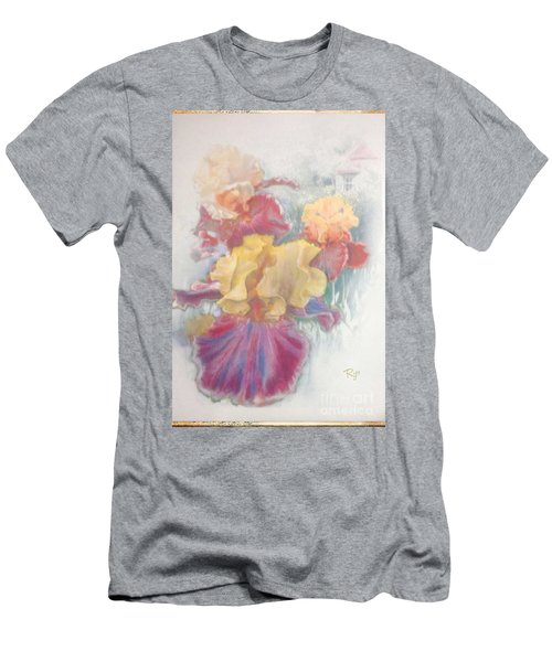Men's T-Shirt (Athletic Fit) featuring the painting Iris In Cottage Garden by Ryn Shell