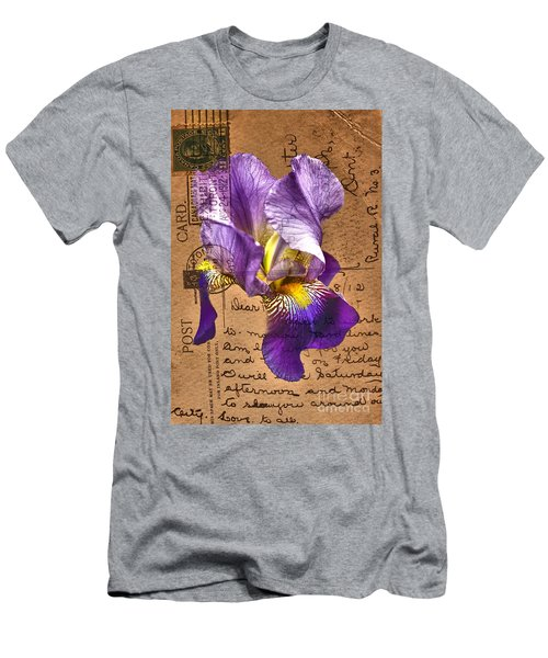 Iris On Vintage 1912 Postcard Men's T-Shirt (Athletic Fit)