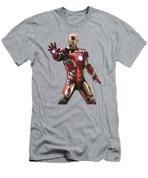 Men's T-Shirt (Slim Fit) featuring the mixed media Iron Man Splash Super Hero Series by Movie Poster Prints