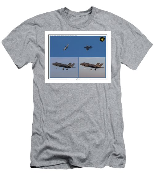 Men's T-Shirt (Slim Fit) featuring the digital art Israeli Air Force First Two F-35i Adir by Amos Dor
