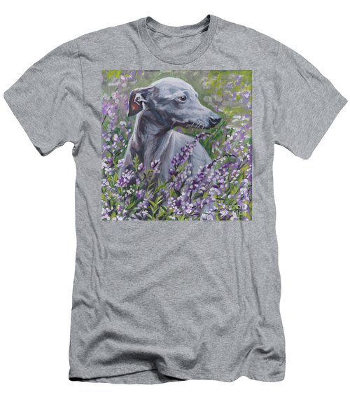 Men's T-Shirt (Slim Fit) featuring the painting  Italian Greyhound In Flowers by Lee Ann Shepard