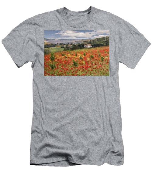 Italian Poppy Field Men's T-Shirt (Athletic Fit)