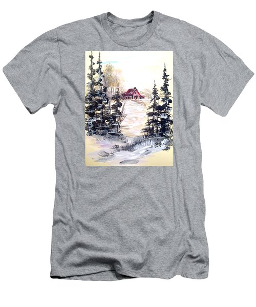 Men's T-Shirt (Slim Fit) featuring the painting It's Winter - 2 by Dorothy Maier