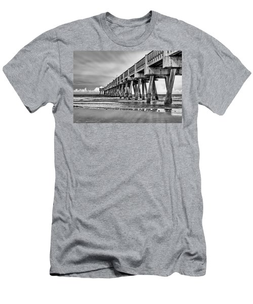 Jacksonville Beach Pier In Black And White Men's T-Shirt (Athletic Fit)