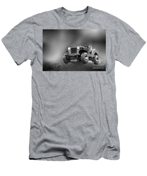 Men's T-Shirt (Slim Fit) featuring the photograph Jeep Bw by Charuhas Images