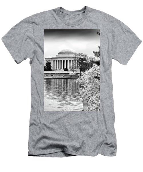 Jefferson Memorial Cherry Blosum Time Men's T-Shirt (Slim Fit) by Paul Seymour