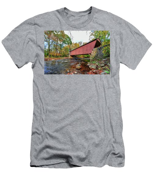Jericho Covered Bridge In Maryland During Autumn Men's T-Shirt (Athletic Fit)