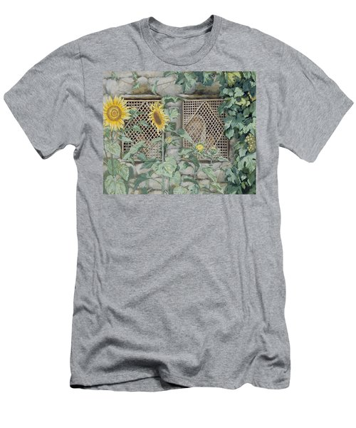 Jesus Looking Through A Lattice With Sunflowers Men's T-Shirt (Athletic Fit)