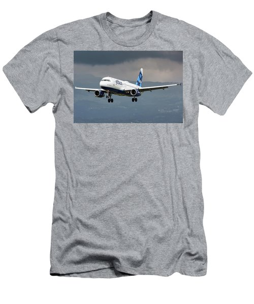 jetBlue A320 landing with mountain Men's T-Shirt (Athletic Fit)