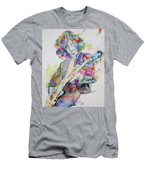 Jimmy Page - Watercolor Portrait.2 Men's T-Shirt (Athletic Fit)