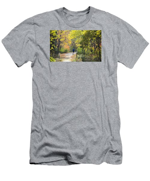 Jogger On Nature Trail In Autumn Men's T-Shirt (Athletic Fit)