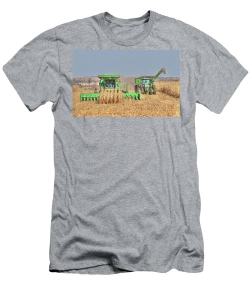John Deere Combine Picking Corn Followed By Tractor And Grain Cart Men's T-Shirt (Athletic Fit)