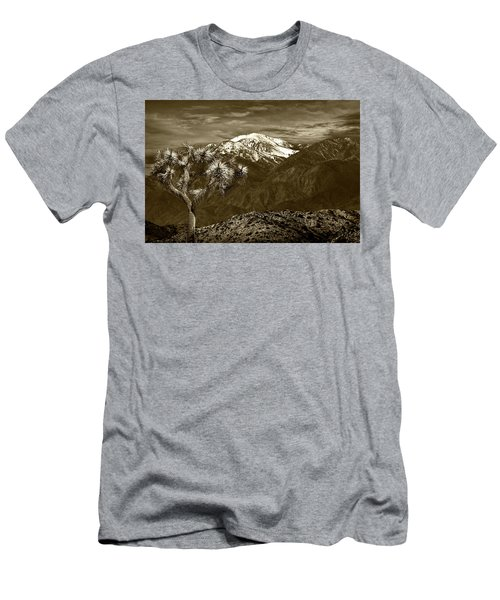 Men's T-Shirt (Slim Fit) featuring the photograph Joshua Tree At Keys View In Sepia Tone by Randall Nyhof