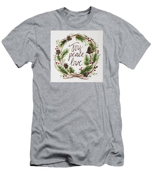 Joy, Peace, Love Men's T-Shirt (Slim Fit) by Elizabeth Robinette Tyndall